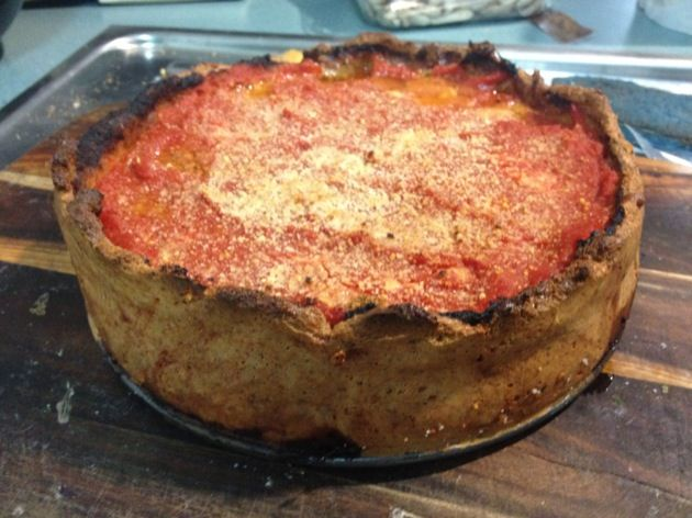 EatKeto - Chicago Style Stuffed Pizza.  Even though I'm a thin crust girl myself, I'll be trying this behemoth and soon!  15g net carbs in the entire pizza.