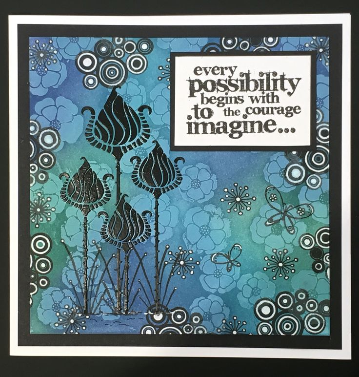 Tracy Nutton made this card using Sweet Poppy's Zen Tulips and Poppy stencils, black paste, distress inks and Crealies stamps.