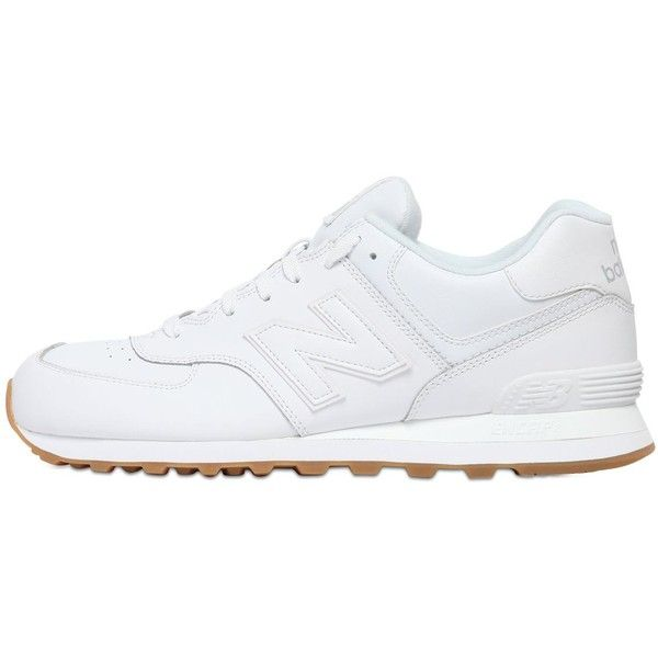 New Balance Women 574 Leather Sneakers (€95) ❤ liked on Polyvore featuring shoes, sneakers, sapatos, trainers, chaussures, white, real leather shoes, new balance, rubber sole shoes and white leather sneakers