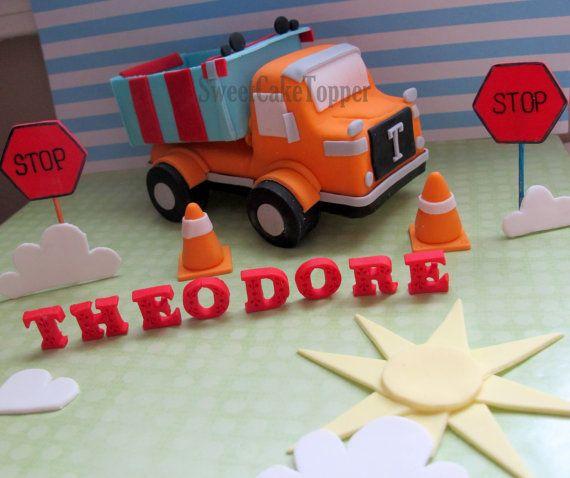 5 Dump Truck Fondant Cake Topper  Handmade by SweetCakeTopper, $45.00