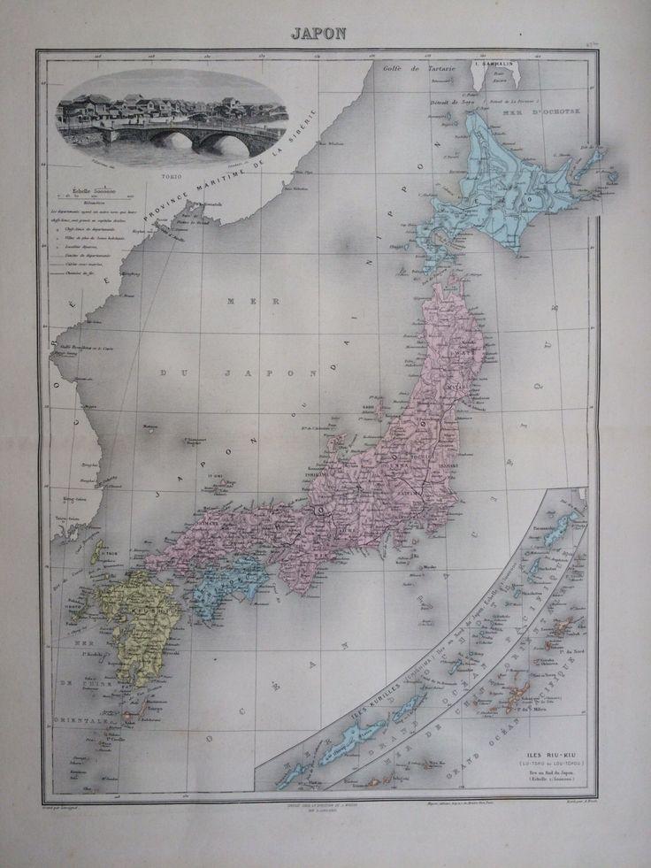1892 JAPAN original antique map Nouvel Atlas
