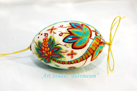 Pysanka  with Embroidered Flowers Polish easter by Bettineum, $30.00
