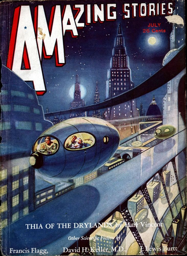 Amazing Stories (July 1932), cover by Leo Morey