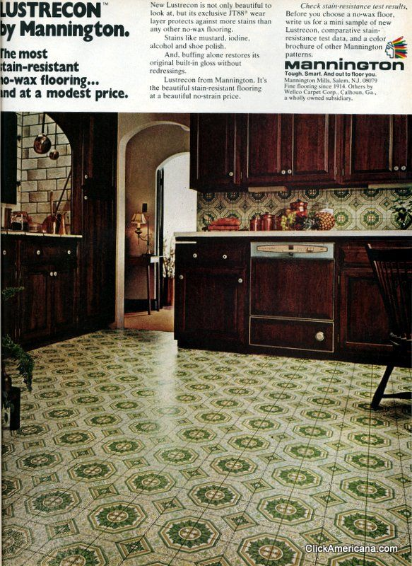 A variety of vinyl kitchen floors from the 1970s