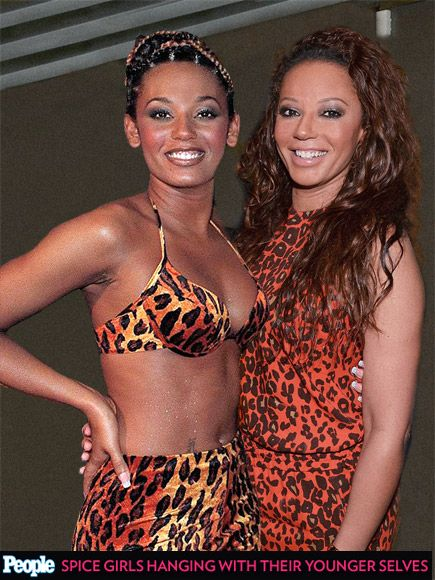 See the Spice Girls Posing with Their Past Selves| Spice Girls, Music, Emma Bunton, Geri Halliwell, Melanie Brown, Melanie Chisholm, Victori...