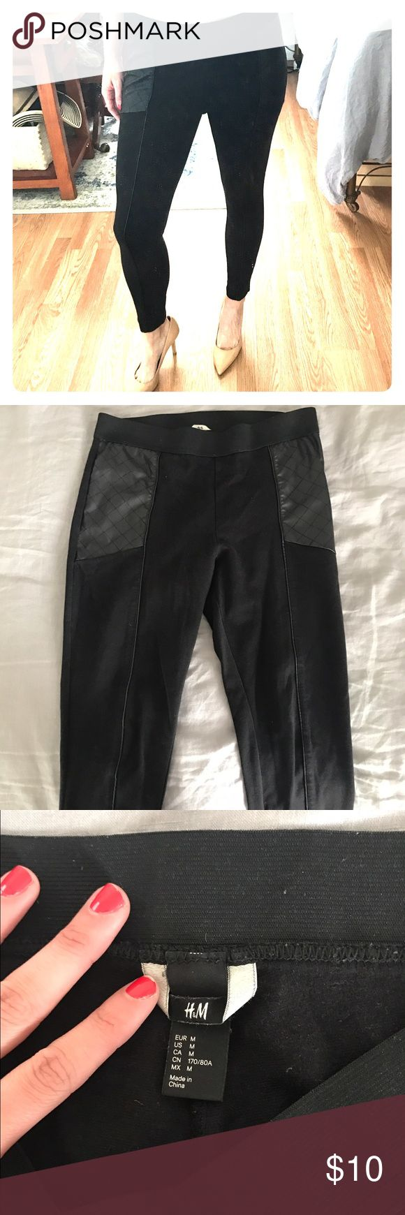 """h&m leggings with leather comfy stretch leggings with two front leather panels and leather seam down front length of the leg. elastic waistband. size medium. (i'm 5'8"""", size 4-6) H&M Pants Leggings"""