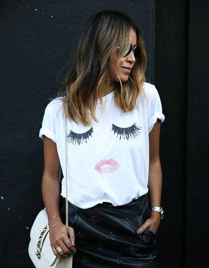 New Arrival Summer Women s Casual T Shirt tshirt 3D Eyelashes Lip print Loose Harajuku Tees