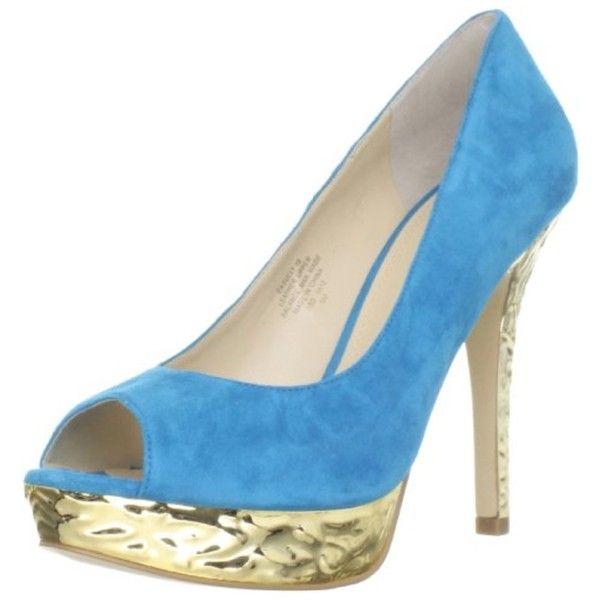 Enzo Angiolini Women's Sully10 Platform Pump ($36) ❤ liked on Polyvore featuring shoes, pumps, blue, embellished ballet flats, high heel platform pumps, blue flats, ballerina flats and blue ballet flats
