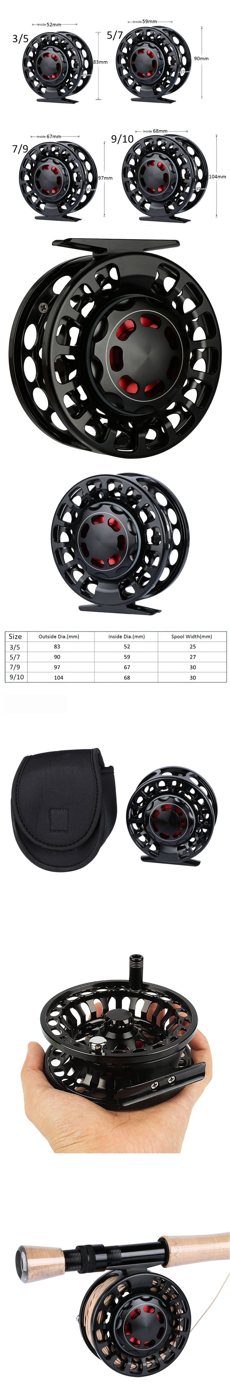 Goture Aluminum Alloy Fly Fishing Reel Saltwater Waterproof CNC Lightweight Fly Reel Coil 2+1 BB 3/5, 5/7, 7/9,9/10 WT