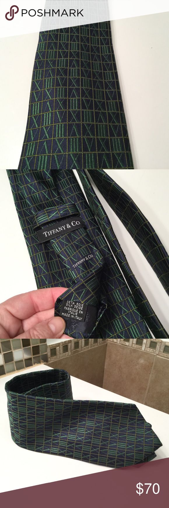 TIFFANY & CO Men's Tie Silk Italy Blue Green Beautiful, authentic Tiffany & Co. men's 100% silk tie. Made in Italy. Blue and green. Looks like roman numerals, but isn't all roman numerals. Tiffany & Co. Accessories Ties