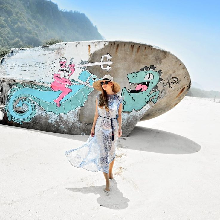 .Liz....When staying at the Bulgari in Bali (Indonesia), we went for a walk on the long and empty beach by the resort, all the way to a lone shipwreck. An empty shell poking from the sand is all that's left of the unlucky vessel. It serves these days as a canvas for nautical graffiti! More from Bali..........https://www.instagram.com/travelplusstyle