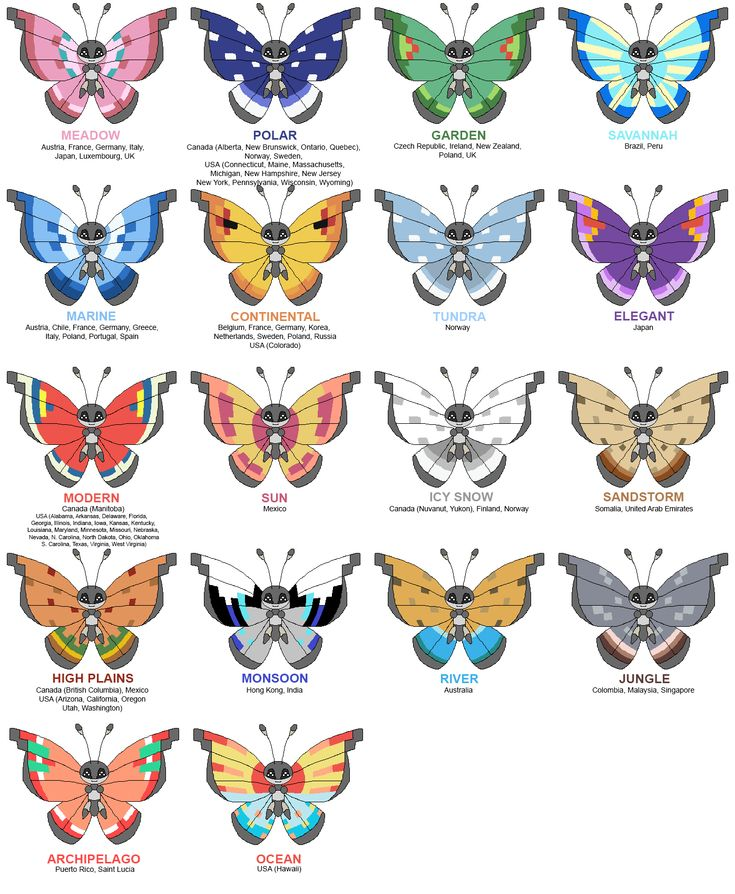 Pokemon X/Y Vivillon Evolution Guide - Its wing pattern varies per region! If your evolution doesn't happen to match up... Er, I don't know what to tell you. I didn't make this chart! :p
