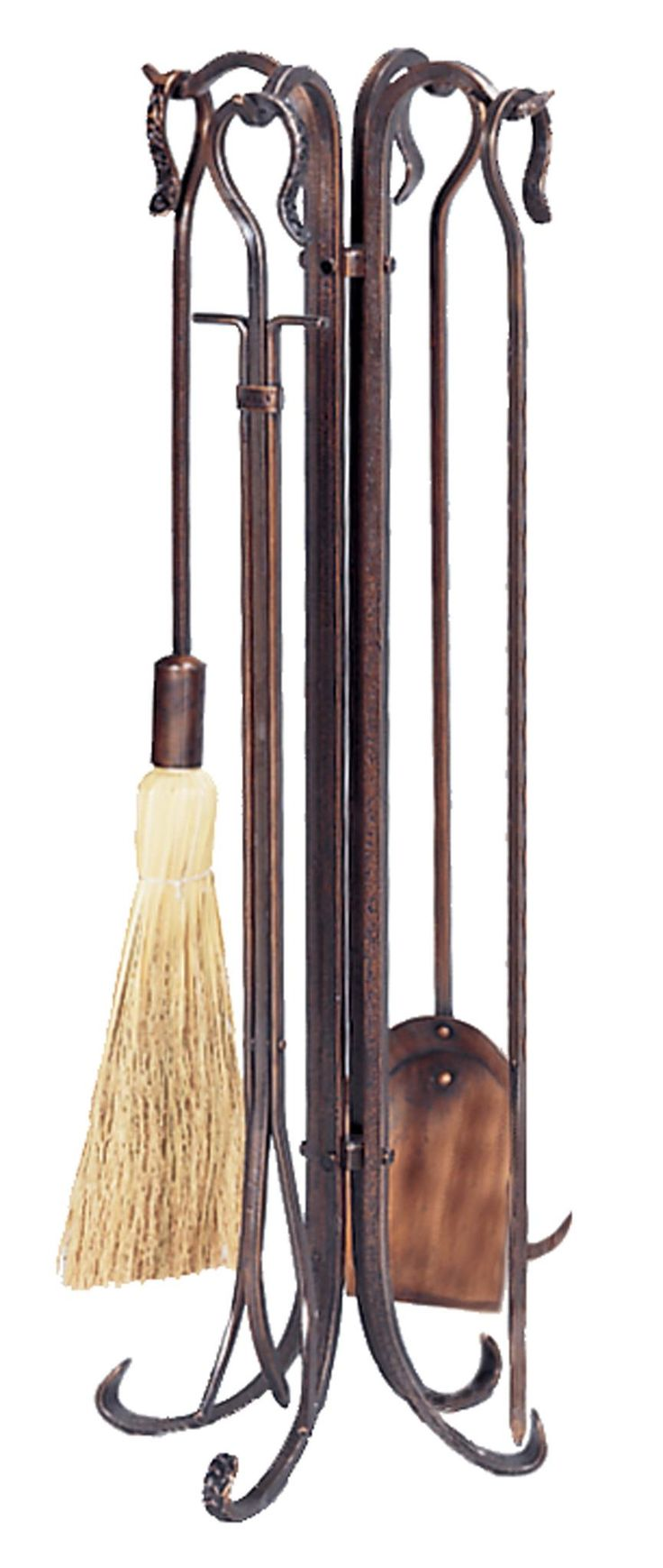 5 Pc Antique Copper Fireset - This classic UniFlame(R) fireplace tool set, by Blue Rhino(R), has all the tools you need to tend to a roaring fire. The set includes a poker, brush, log lifter and shovel. Its popular antique copper finish and timeless styling will accent a variety of decor. Tools hang from integrated hook handles that are both attractive and functional. Antique copper finish Shepard hook handles hang from stand Transitional base will accent a variety of decor Includes shovel…