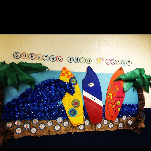 Back To School Bulletin Board Quot Surfing Into 5th Grade