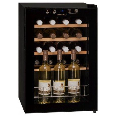 Racitor vinuri cu compresor DX-20.62K Racitorul de vin Dunavox DX-20.62K este un racitor cu compresor, cu o apariţie elegantă de culoarea neagră, si usă de sticlă colorată. În funcţie de versiune, buteliile pot fi aranjate pe rafturi din metal sau lemn.