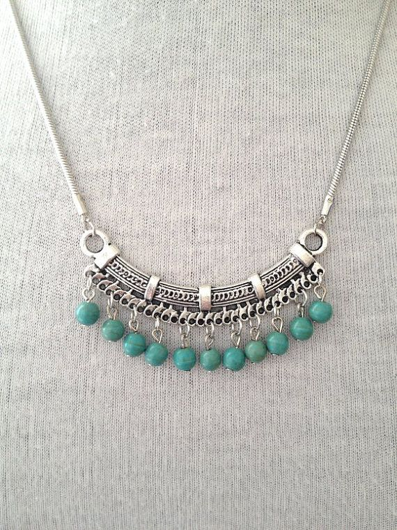 Silver Turquoise Necklace Boho  Jewelry UK boho by BohoYogaJewelry