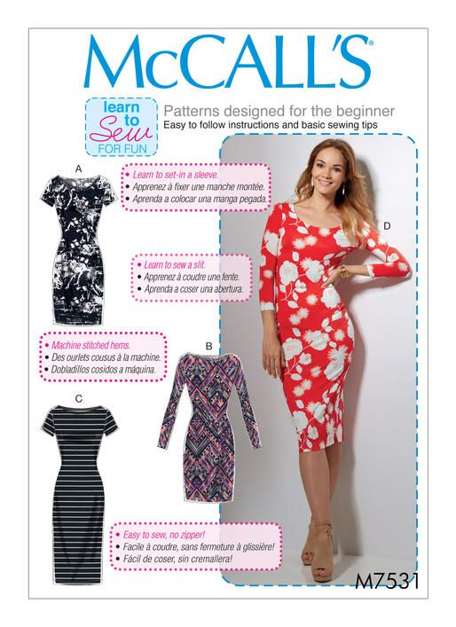 Learn to Sew bodycon dress sewing pattern from McCall's. M7531 Misses' Knit Bodycon Dresses