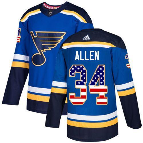 Adidas Blues 34 Jake Allen Blue Home Authentic Usa Flag Stitched Youth Nhl Jersey Nhl Jerseys Jersey Nhl