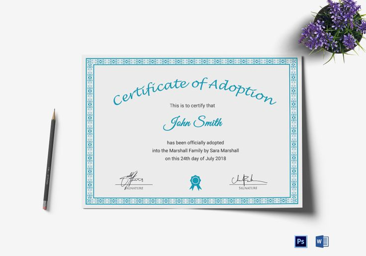 Printable Adoption Certificate Template  $9.99  Formats Included : MS Word, Photoshop   File Size : 11.69x8.26 Inchs  #Certificates #Certificatedesigns #AdoptionCertificates