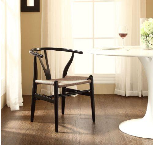 Black C24 Wishbone Chair by LexMod