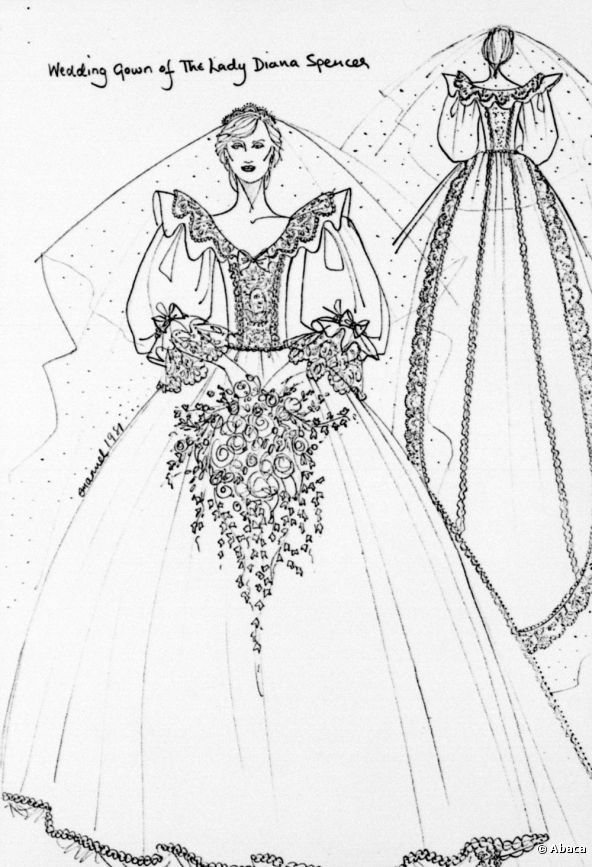 Elizabeth And David Emanuel Sketches Of The Front And Back