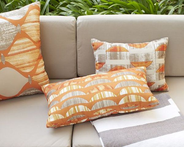 Beautiful Fabric Patten In Pillows Design : Appealing Orange Outdoor Pillows Among Crescent Pattern Near Grey Sofa Near Green Plantation