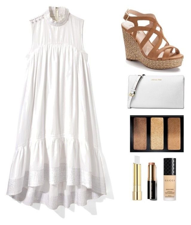 """Tan and White"" by lizdp ❤ liked on Polyvore featuring Jennifer Lopez, 3.1 Phillip Lim, Michael Kors, Stila, Bobbi Brown Cosmetics and Gucci"