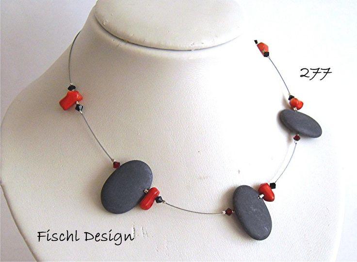 Kette Halskette Onyx Koralle 277 von design-perlenring auf DaWanda.com