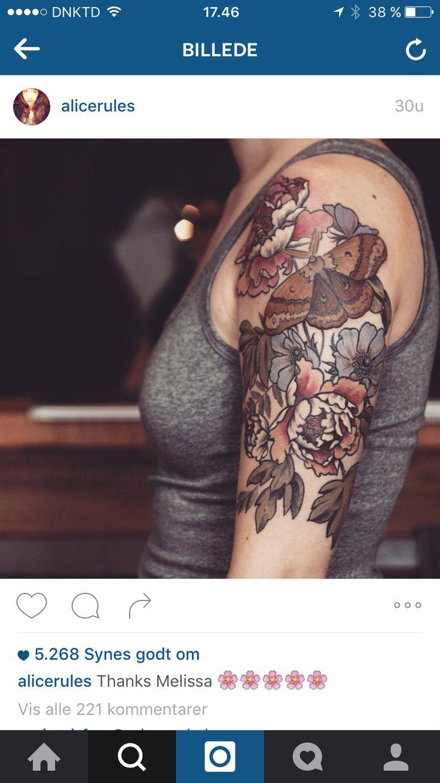 Vintage flower tattoo color
