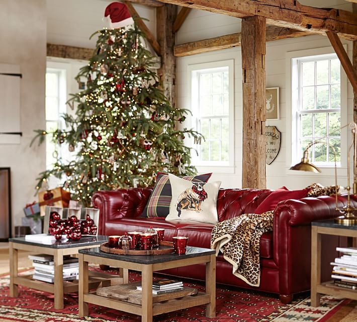 Love the red leather sofa.