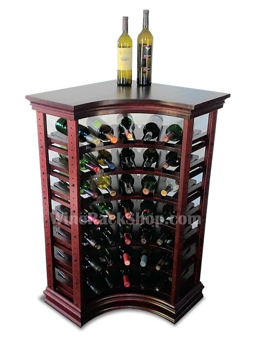 """35 Bottle Corner Wine Rack With Top and Baseboard features solid wood top and cabinet style baseboard. Shown in Mahogany finish.  43-1/2""""H x 24-3/4""""W x 12""""D"""