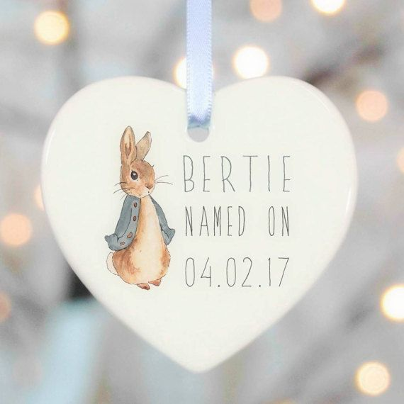 Christening gift boy Personalised Christening gift boy Christening gift girl  white ceramic with personalised details. Christening Gift for Girls and Boys this Rabbit Christening Gift makes a unique and special personalised present. Perfect gift from any God Parent.  Watercolour characters and personalisation on a delicate glazed porcelain star.  The star can be decorated with a choice of colours. Please select from the options to your right.  A super keepsake and very tactile gift.  The…