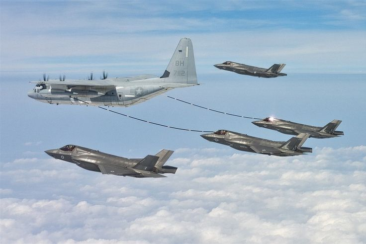 The F-35s had to be refuelled in mid-air across the Atlantic by a US air force tanker plane (pictured)