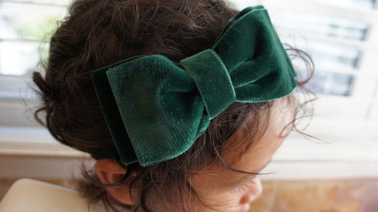 Large Green Velvet Fall / Holiday Hair Bow Headband, Baby Girl Hair Bow Headband, Women Hair Bow, Girls Hair Bow Headband,. $10.00, via Etsy.