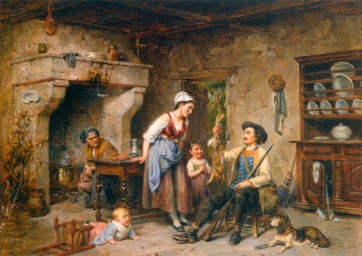 The Huntsmans Home Coming :: Leon Caille - Romantic scenes in art and painting