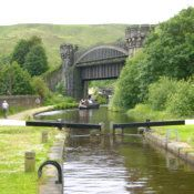 The Rochdale Manchester canal in Yorkshire Uk is 33 miles long. We walked it with a church group for charity staying over night half way.
