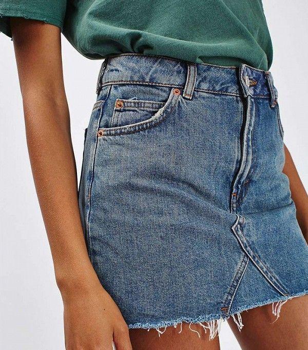 Topshop Moto Denim Pelmet Skirt
