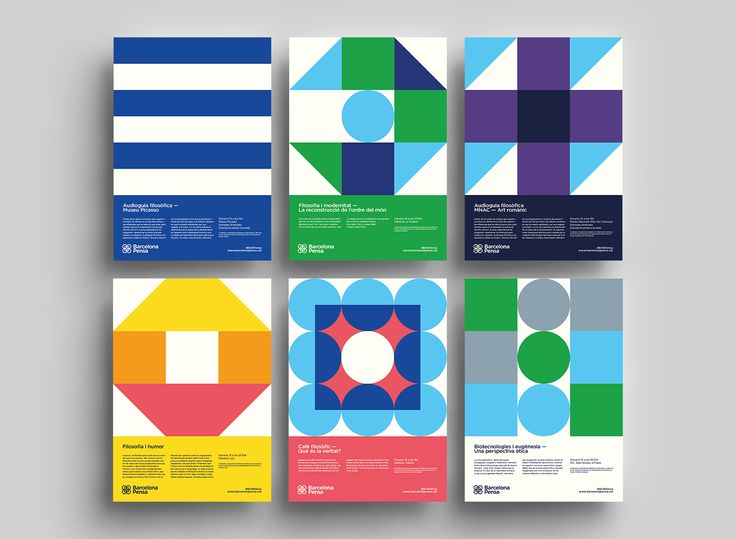 Barcelona Pensa 2016 Poster Series - Graphic Design - Posters, Visual identity, Graphic, Minimalistic, Bright Colors, Basis Shapes, International Typographic Style, Swiss Design