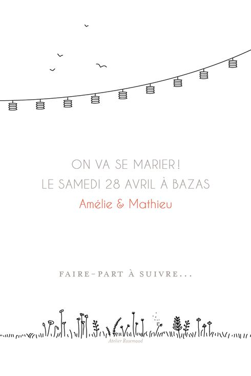 Save the date promesse champêtre aux accents bucoliques par l'Atelier Rosemood #wedding #savethedate #mariage