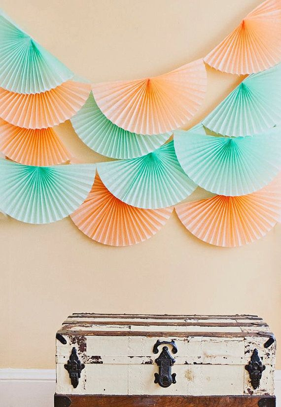 party decor  ... pomwheel garland ... bunting fan medallion banner // wedding decorations // tablescape backdrop  // mint peach blush gold