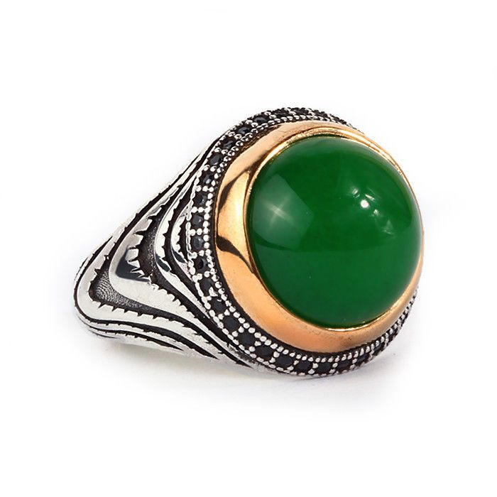925K Sterling Silver Gemstone Man Ring With Natural Green Jade #IstanbulJewellery #Statement