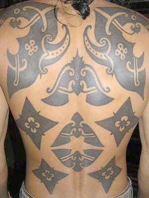 Iban tattoo. Sarawak, Borneo