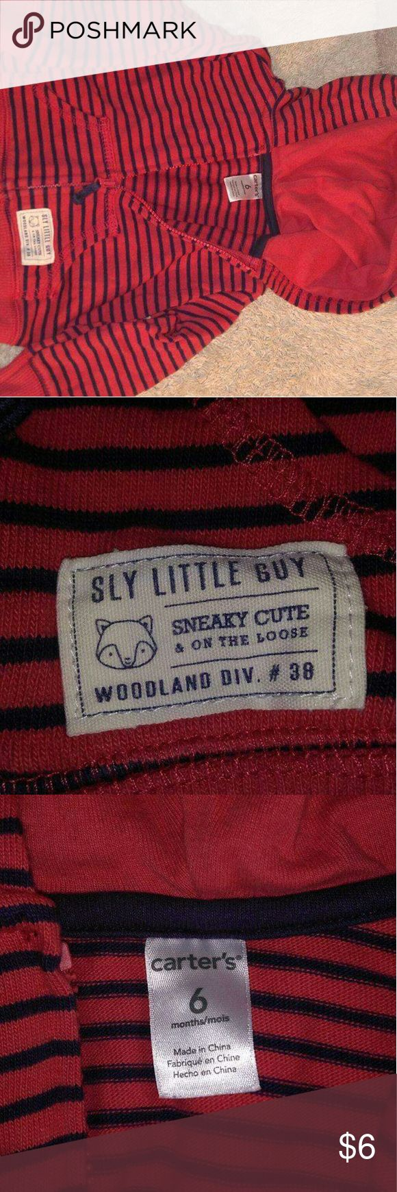 Carters baby hoodie Red and navy blue striped zip up hoodie. Like new Carter's Shirts & Tops Sweatshirts & Hoodies
