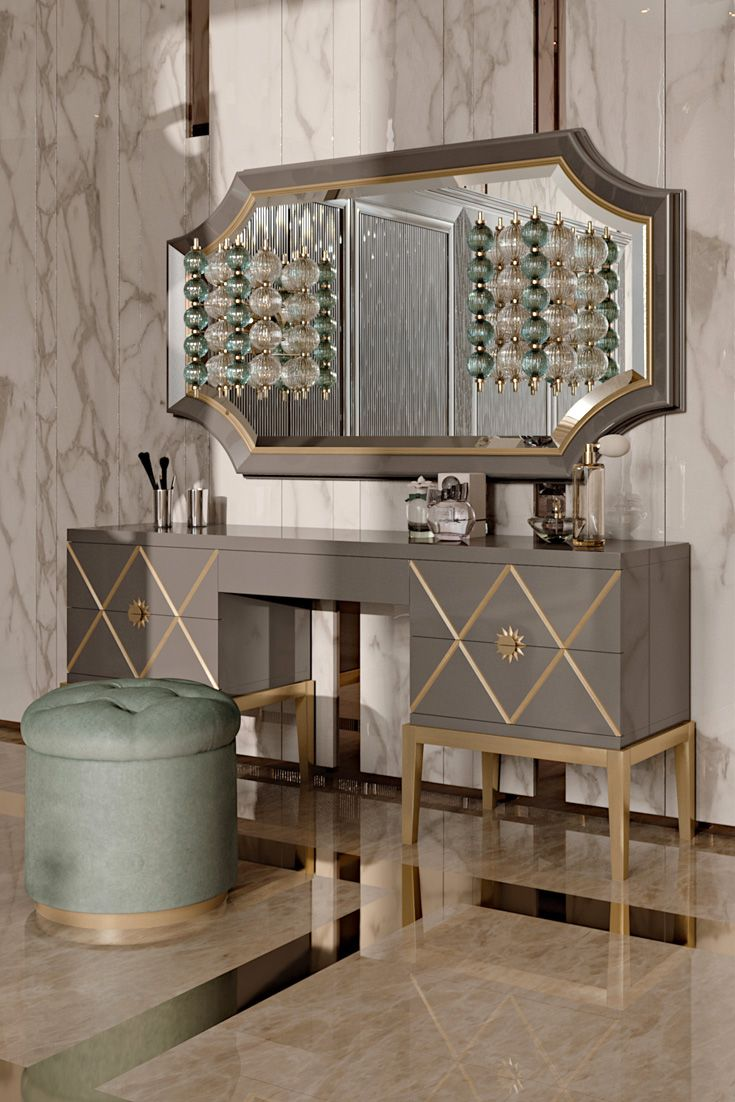 The Art Deco Inspired Italian Designer 5 Drawer Dressing Table at Juliettes Interiors, Classic Art Deco inspiration meets timeless glamour. Ideal for those who have an eye on the classics but also enjoy the comforts of modern living. To suit both a classic or contemporary interior, the perfect addition in any setting with the versatility to also be used perfectly in an office space as a desk.