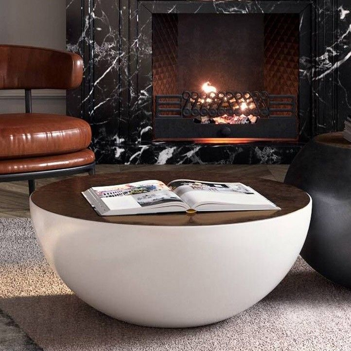 Modern Style Round Drum Coffee Table Black White With Brown Top