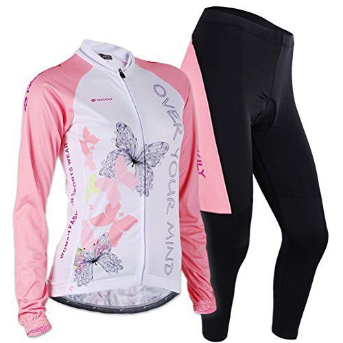 Sponeed Women's Cycle Jersey Bike Clothing Gel Padded Long Sleeve Butterfly Size XL US Pink - http://ridingjerseys.com/sponeed-womens-cycle-jersey-bike-clothing-gel-padded-long-sleeve-butterfly-size-xl-us-pink/