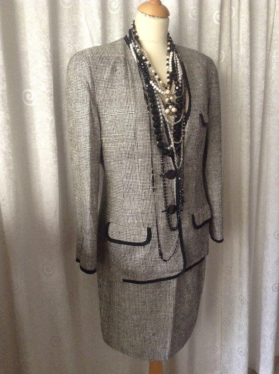 100% Silk Ellen Tracey Skirt Suit Blazer Jacket matching