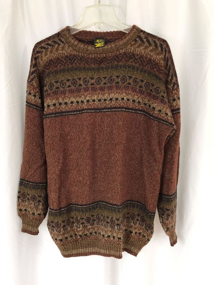 Max Miber Made in Peru Alpaca Wool Brown Multicolor Knit Mens Pullover Sweater M  | eBay