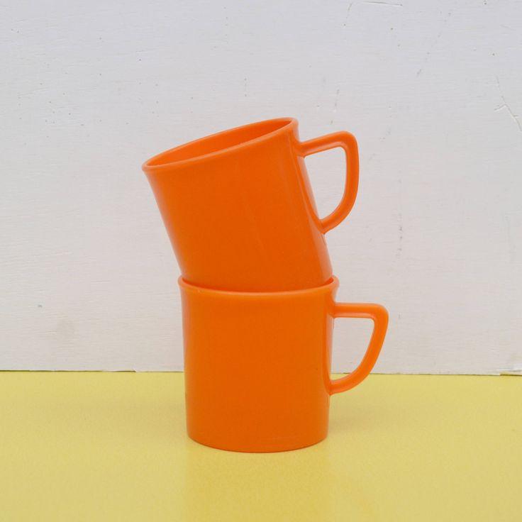Vintage Orange Plastic Cups, Two Retro Plastic Mugs, Pair of Vintage Plastic Camping Mugs, Retro Orange Picnic Mugs, Travel Mugs by LittleYellowTable on Etsy