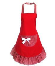 Home Work Red Cotton Apron With Big Chic Pocket Fashionable Kitchen Accessory